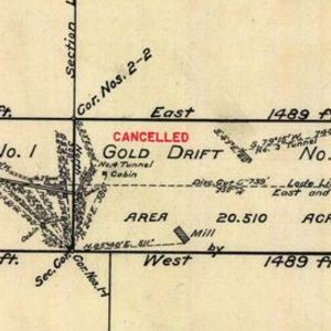 Click this thumbnail for a full view of 56.874 acre claim of A. Welch Company Incorporated known as the Gold Drift Number 1, Gold Drift Number 2, Gold Drift Number 3 Lodes located in the Jump-Off-Joe Mining District of Josephine County, Oregon.