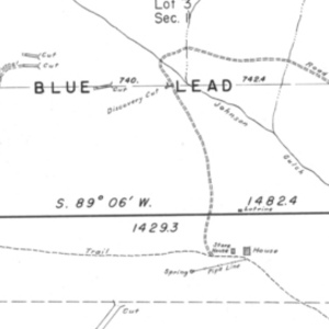 Click this thumbnail for a full view of 0.002 acre claim of William A. Akers known as the Blue Lead, Snow Bird, And Mary Lee Lodes located in the Sucker Creek Mining District of Josephine County, Oregon.
